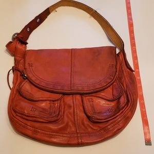Lucky Brand leather Stash Bag purse burnt orange